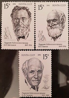 Russia USSR 1991 Sc # 5999 to Sc # 6001 Mint MNH Nobel Prize Winners Stamps Set