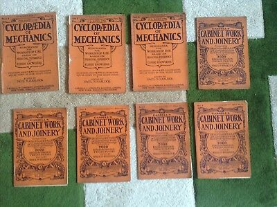 Job Lot of Antique Cassells Cyclopedia of Mechanics & Cabinet Work & Joinery