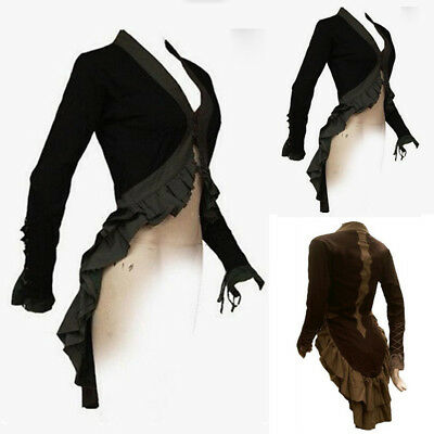 Women Gothic  Long Sleeve Tuxedo Coat Jacket Slim Fit Medieval Cosplay Coat