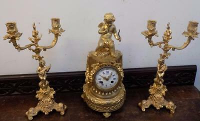 french ormolu clock garniture garnier of paris on dial
