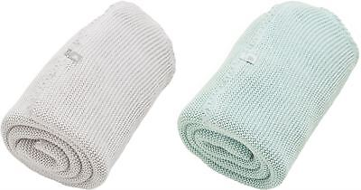 The Little Green Sheep WILD COTTON ORGANIC KNITTED BLANKET Baby Sleeping -BN