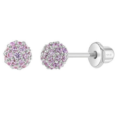925 Sterling Silver CZ Fireball Ball Screw Back Earrings Girls or Teens 4mm