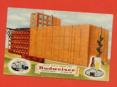 """CPA PUBLICITAIRE  BIERE BUDWEISER""""   LATEST STOCK HOUSE FOR BUDWEISER St LOUIS"""