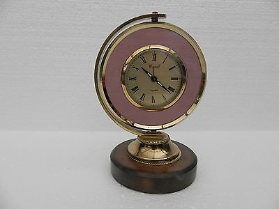Vintage Coral Alarm Clock ~ Wind-Up ~ Wooden Base ~ Made in Japan
