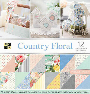 """American Crafts DCWV 12"""" x 12"""" Country Floral Cardstock Pack - 36 Sheets"""