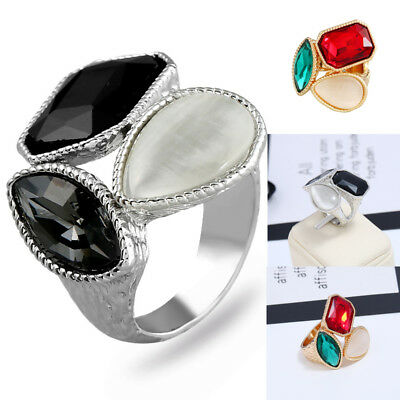 Mens Women Cat's Eye Stone Ring Steel Stainless Band Cocktail Party Jewelry