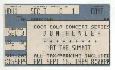 RARE Don Henley 9/15/89 Houston TX The Summit Concert Ticket Stub! The Eagles