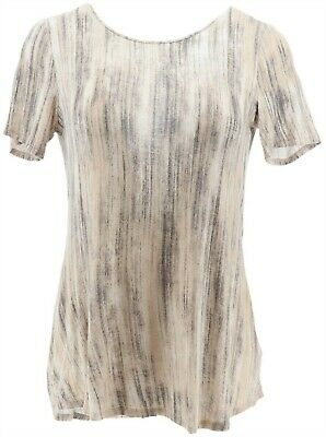 Lisa Rinna Collection Printed Knit Top Back Short Slvs Taupe Combo L NEW A291099
