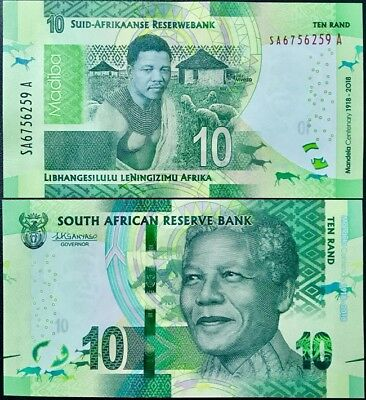 South Africa 10 Rand 2018 P New Design 100Th Comm. Nelson Mandela Unc