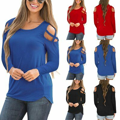 USA Summer Womens Strappy Cold Shoulder Tops Blouse Ladies Long Sleeve T-Shirt