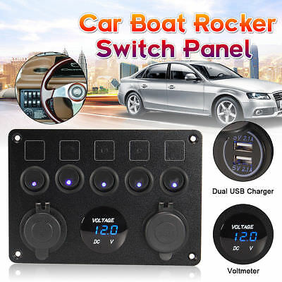 5 Gang ON-OFF Toggle Switch Panel 2USB Charger 12V-24V Car Boat Marine Truck RV