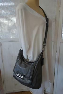 Authentic Coach Grey Kristin Leather Spectator Shoulder Bag 18287