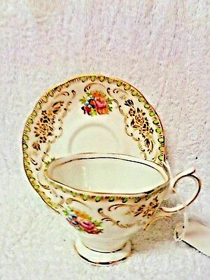 Royal Albert Damask Green And Tan Floral Stencil  Cup and Saucer
