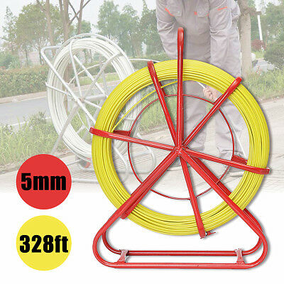 100m 5mm Fiberglass Wire Cable Rod Duct Electrical Tape Running Puller