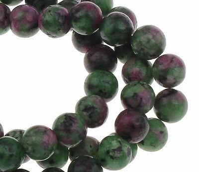 25 Rubin in Zoisit Ruby in Zoisite  6mm Kugel Edelstein Naturel Perlen G190