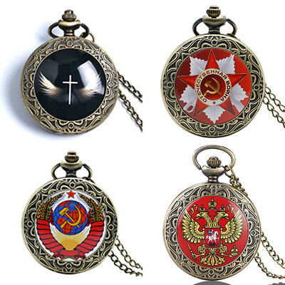 Retro Bronze Quartz Pocket Watch Vintage Chain Necklace Pendant Men Women