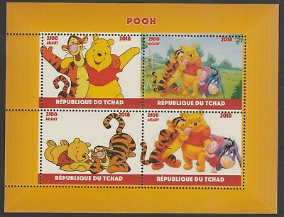 Chad 7644 - 2018 POOH BEAR  perf sheet of 4 unmounted mint