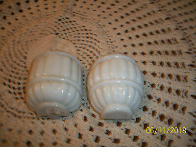 Vintage Pair White Milk Glass Bird Cage Feeders Seed Water Cup Rib Band Pattern