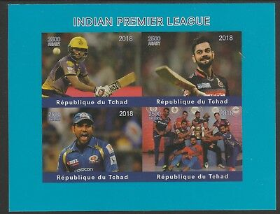 Chad 7661 - 2018 CRICKET  INDIAN PREMIER LEAGUE imperf sheet of 4 unmounted mint