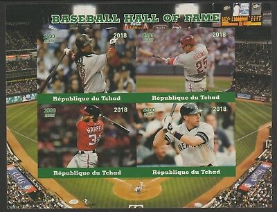Chad 7665 - 2018  BASEBALL HALL OF FAME  imperf sheet of 4 unmounted mint