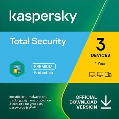 Kaspersky Total Security 2019 3PC 1Year Download Full Version Sent via Email EU