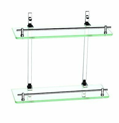 "â""¢superior 2 Tier Flat Front Bathroom Glass Shelf Unit With Chrome On Brass"