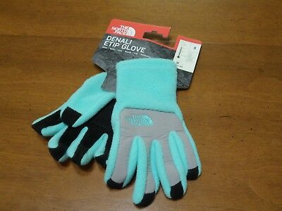 The North Face Girl's Denali ETIP Gloves Size S Blue/Gray NWT