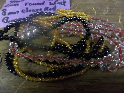 # Bead Lot of 3 strands assorted fancy glass each 31 inch long <><  4oz