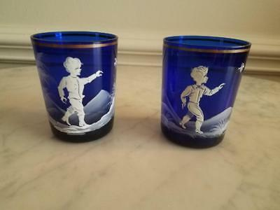 Vintage Antique Original Pair Mary Gregory Cobalt Glass Cups Set of 2