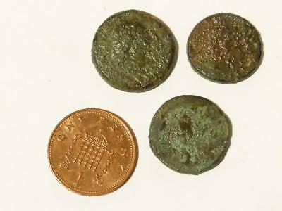 3 x Antique 17-19thC Brass Coin Weights Metal Detected DUG UP #CW11
