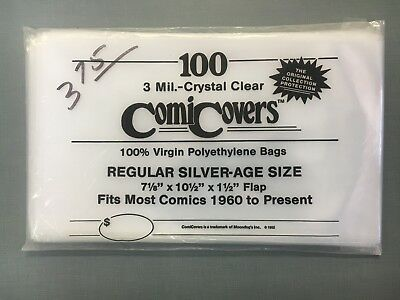 100 Vintage ComiCover Comic Bags: Silver-Age 3 Mil BRAND NEW 7-1/8 x 10-1/2 1992