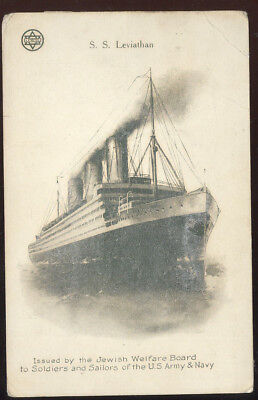 Wwi Jewish Welfare Board Sepia Post Card, S.s. Leviathon, Troop Ship