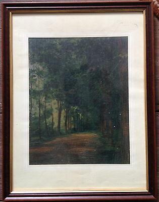 Otto Richter 1899° Forest Road Oil Painting° Landscape Listed° Antique Rare