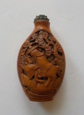 Chinese Wood or Bamboo Carved Snuff Bottle, Elder Riding Horse