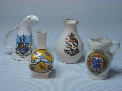 4x Crested Ware TWO VASES + TWO JUGS Cromer Grantham Canterbury Goss Willow