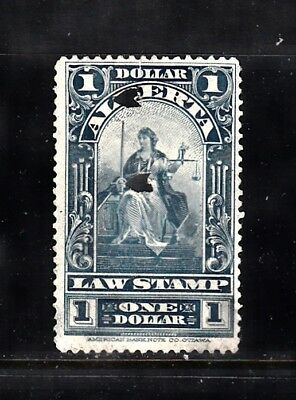 Vc1173 Canada Alberta Law Stamp ~ Used, Hole Punched Cancel