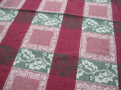 "Cotton Park Cottage Tablecloth Green Red Holly Damask 45"" x 60"" Rectangular"