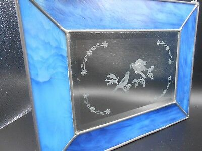 Vintage Etched Blue Slag Art Glass Stained Leaded Window Panal Birds & Flowers