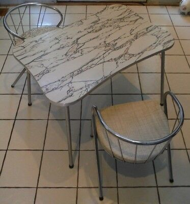 Vintage Mid Century Modern Retro Atomic Child Size Formica Table 2 Chrome Chairs