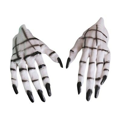 1Pair Scary Bone Halloween Gloves with Long Nail Devil Party Cosplay Fancy Dress