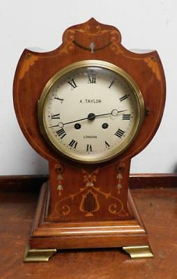 french mahogany balloon style mantel clock