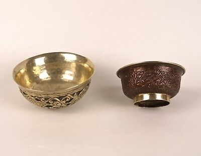 Two Vintage Sino-Tibetan White Metal & Copper Bowls.