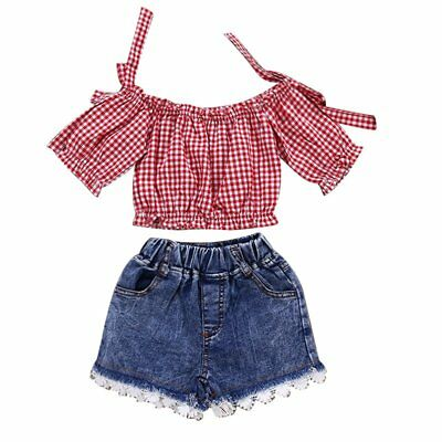 Toddler Kids Baby Girl Off Shoulder Top+Jeans Shorts Pants 2PCS Outfit Clothing