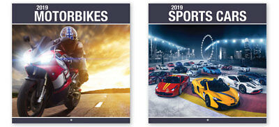 2019 Sports Cars Bikes Motorbikes Super Performance Racing Square Wall Calendar