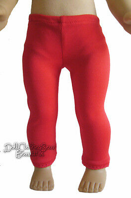 """Christmas Red Leggings w/ Lace Trim for 18"""" American Girl Doll Clothes"""