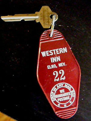 1950/60's Western Inn Elko Nevada Room Key With Harrah's Club On Back