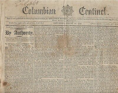 Rare Early Paul Revere Boston Bell & Cannon Foundery Ad In 1797 Boston News