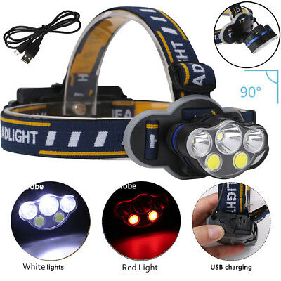 15000 LM 3X T6 + Red COB 5XLED USB Rechargeable Headlight 18650 8 Modes Headlamp