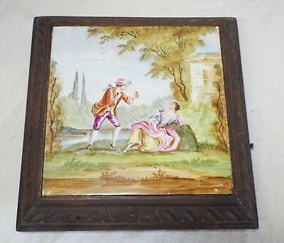 LARGE Antique FRENCH Wood & Porcelain Hand Painted Tile MUSIC BOX -WORKS-