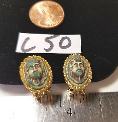 Vtg Quality Max Neiger Turquoise Color Clip ons Egyptian Revival Scarab Stone GP
